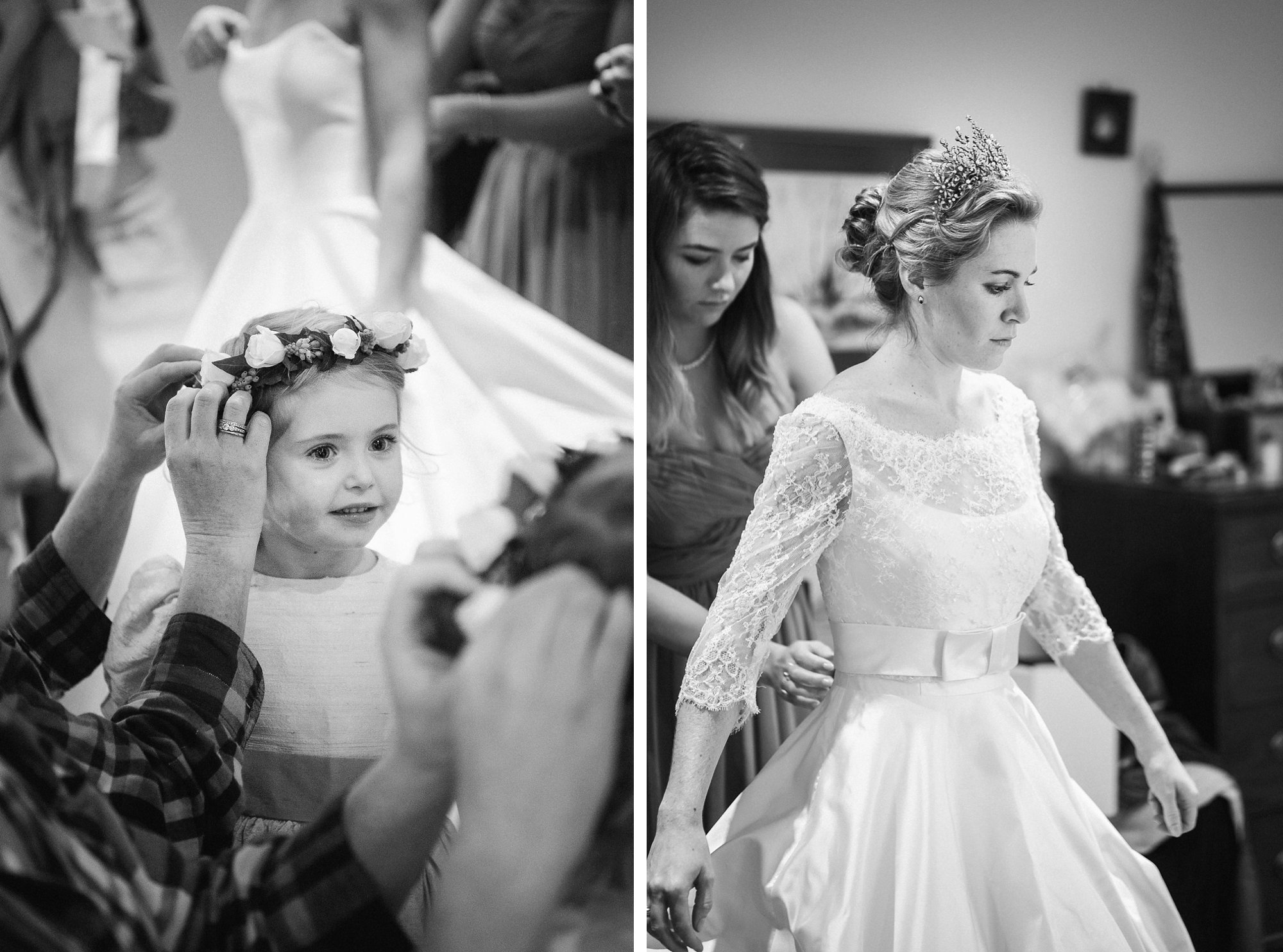 bride and flower girl get ready for the wedding ceremony