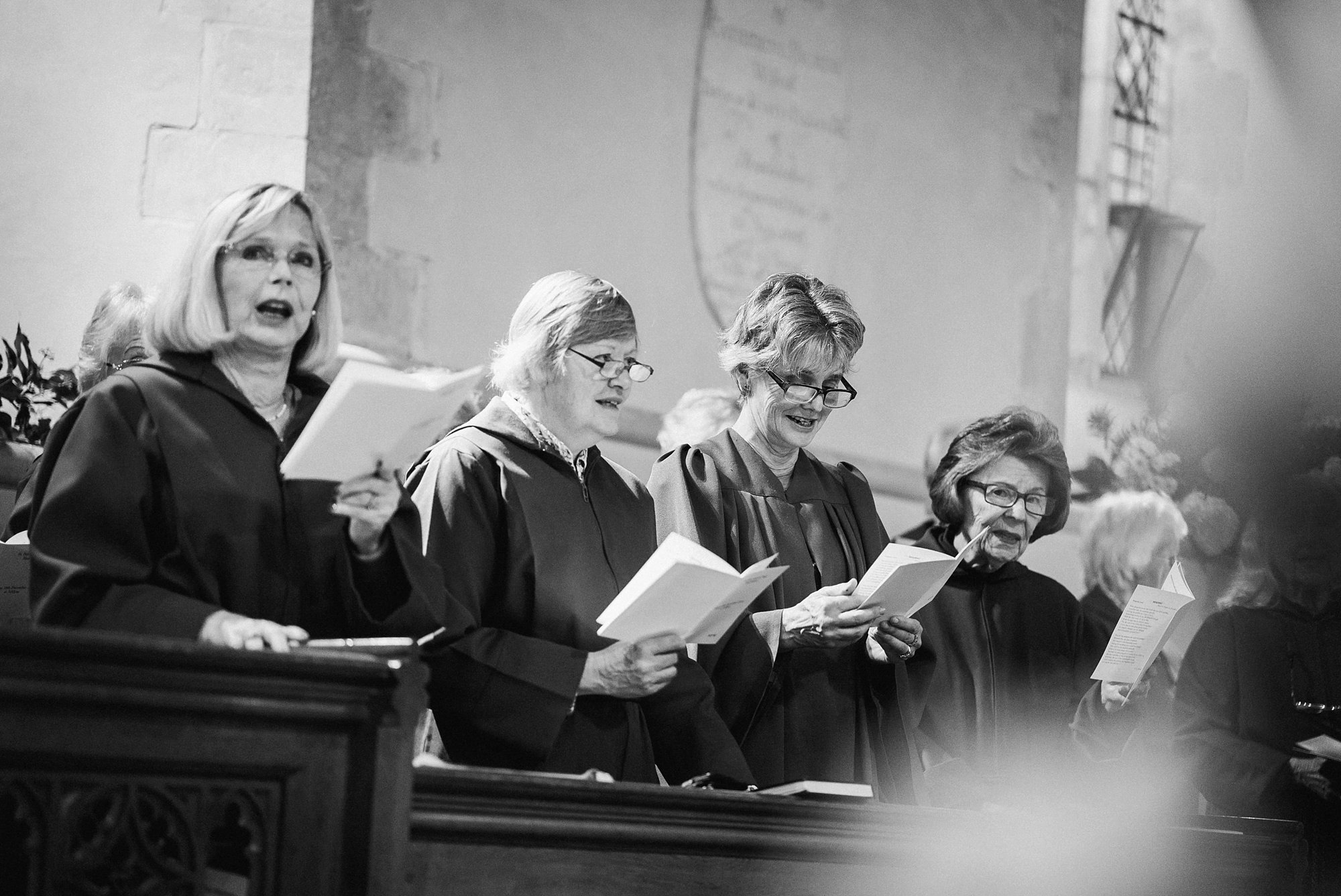 the choir sings during the wedding ceremony