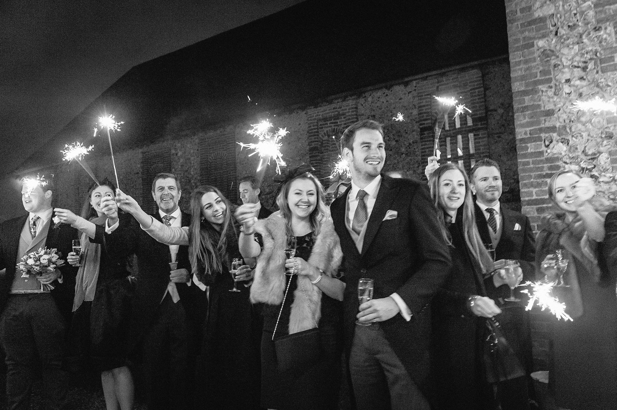 sparklers at a winter wedding