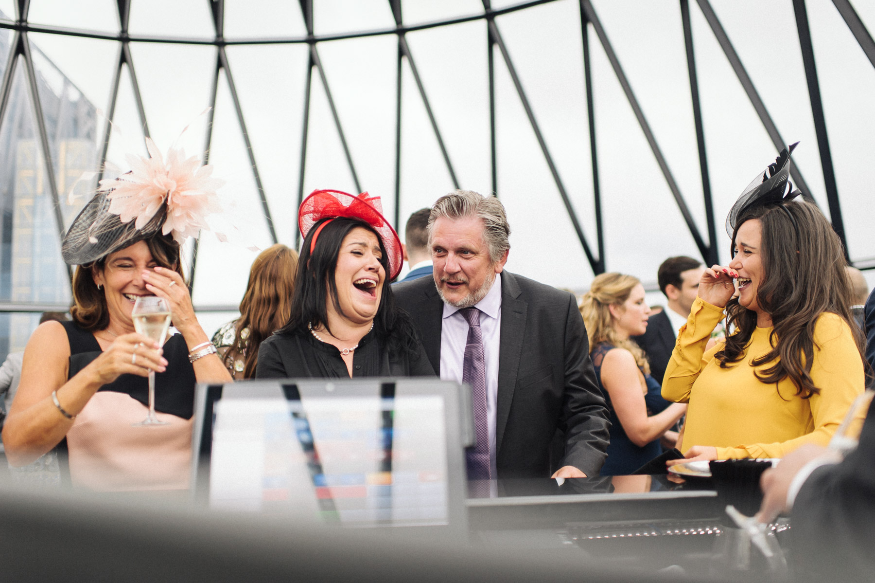 wedding guests laugh out load