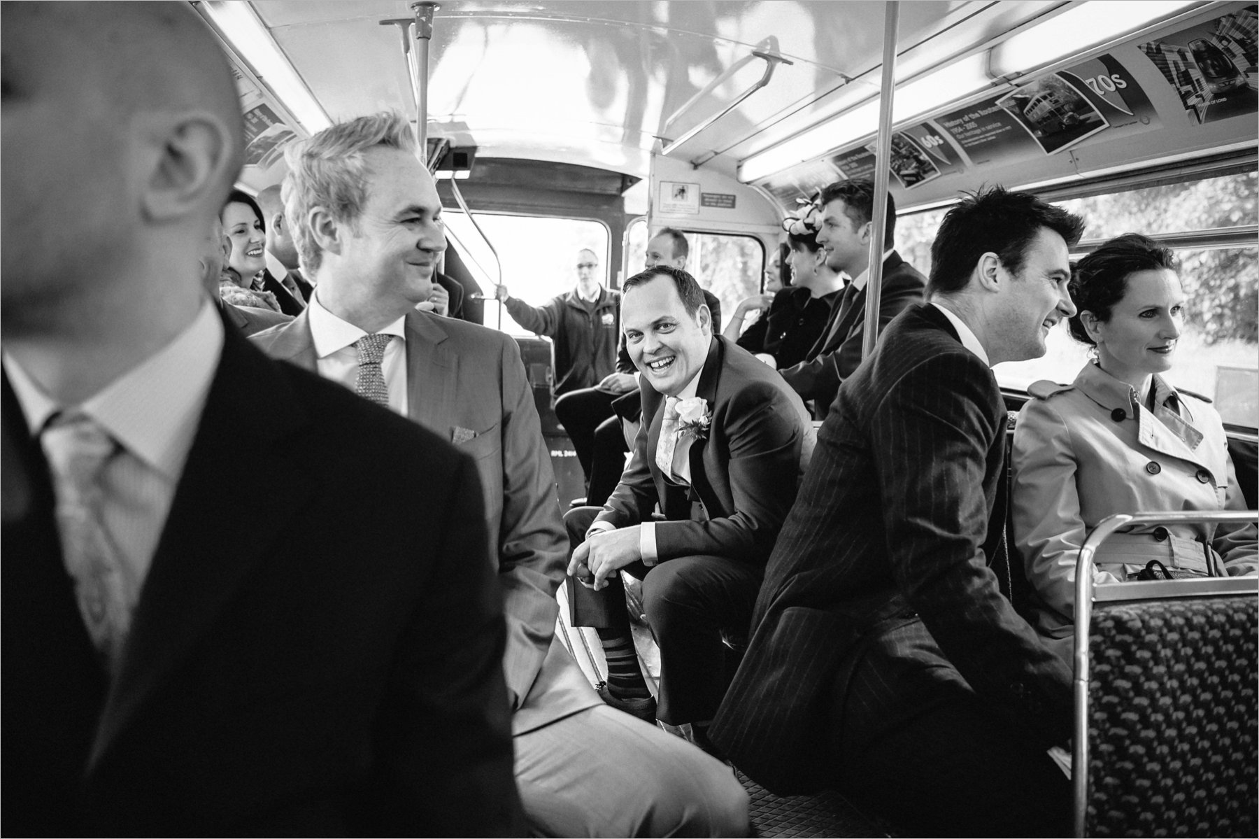 the groom takes the bus to his wedding