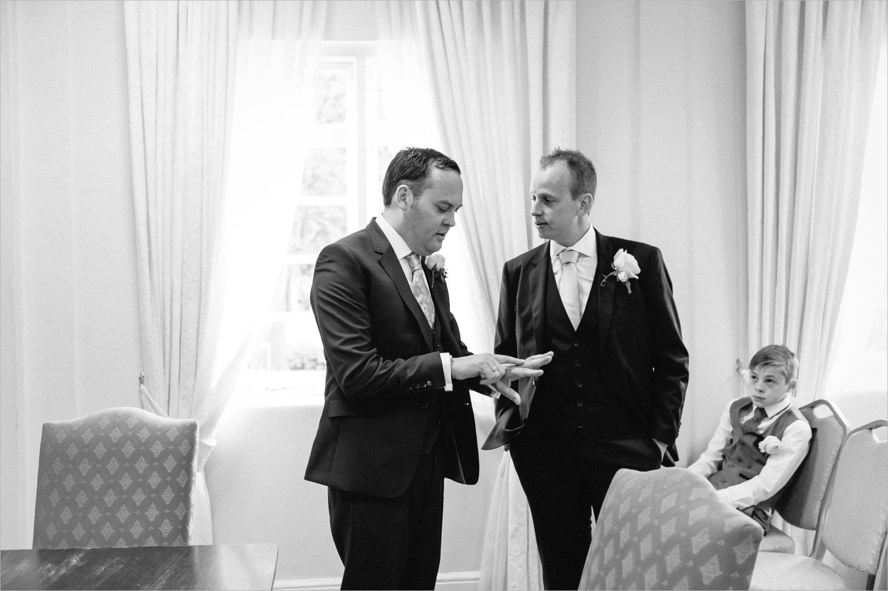 groom's final checks before the ceremony