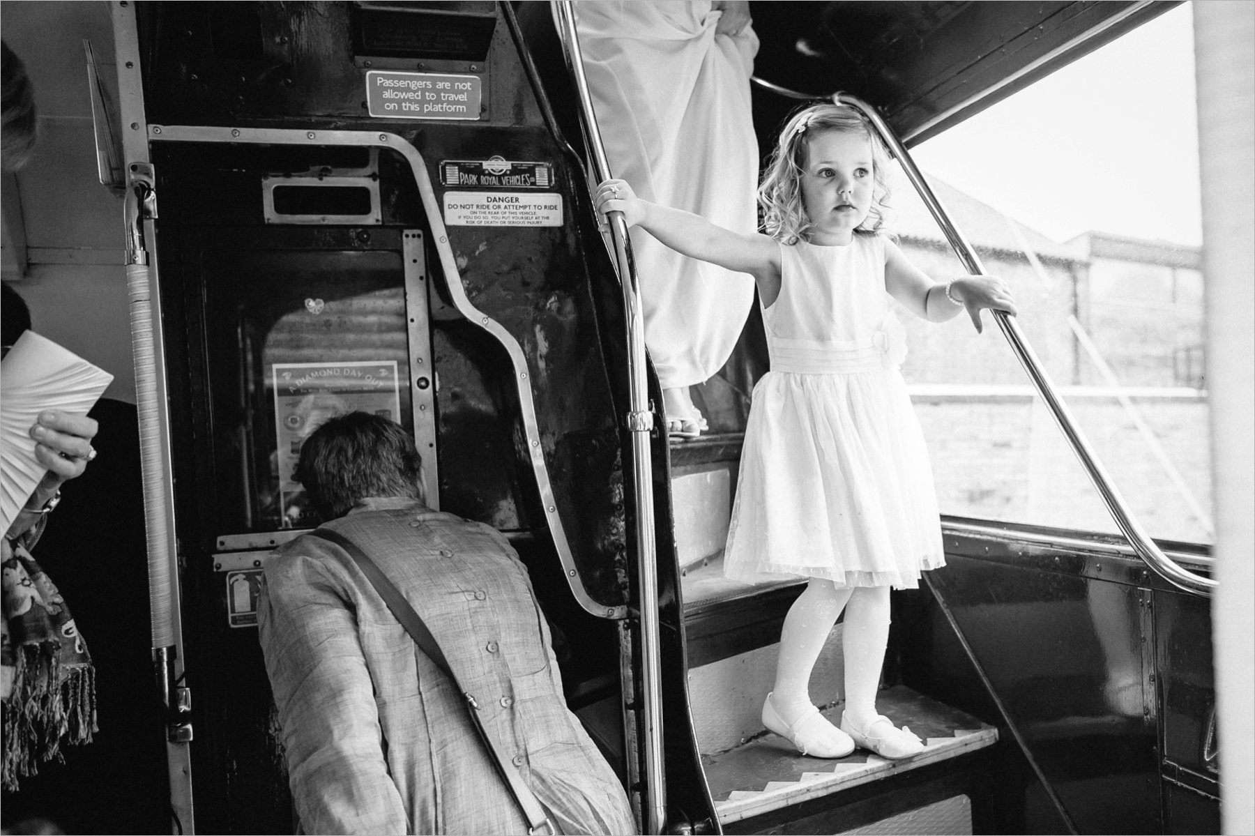 the flower girl departs the bus