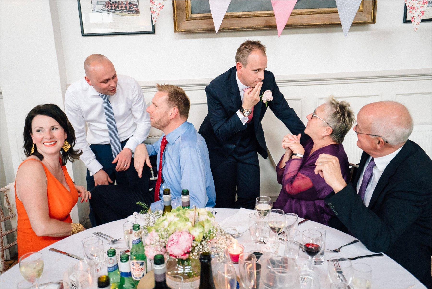 gossiping wedding guests