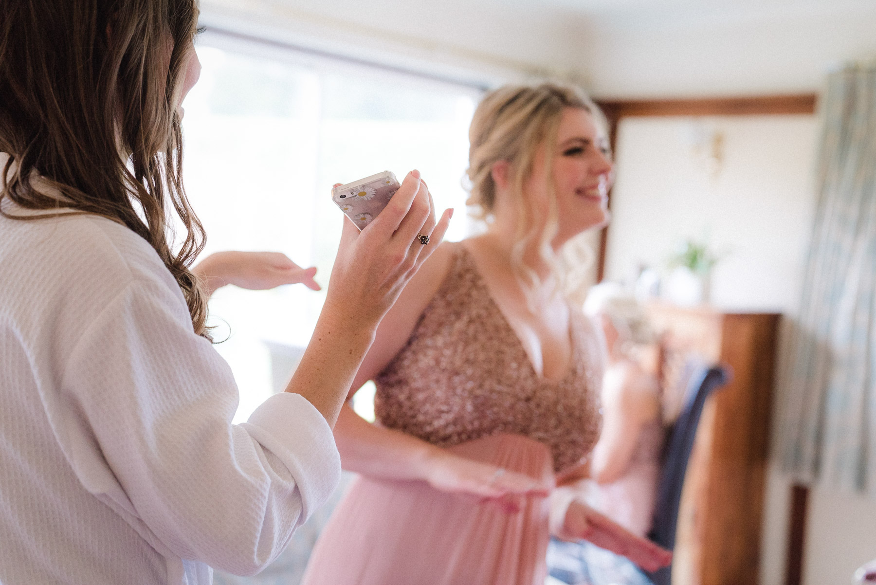 a bridesmaid practices her dance moves