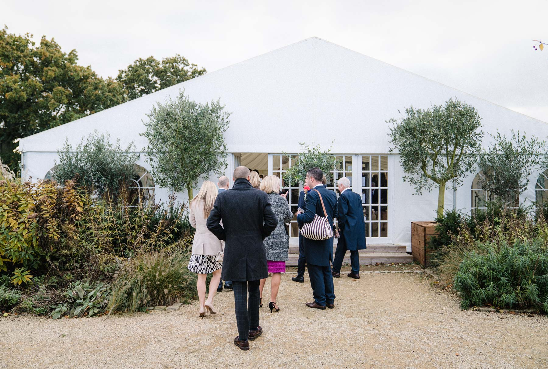 guests enter the marquee at micklefield hall
