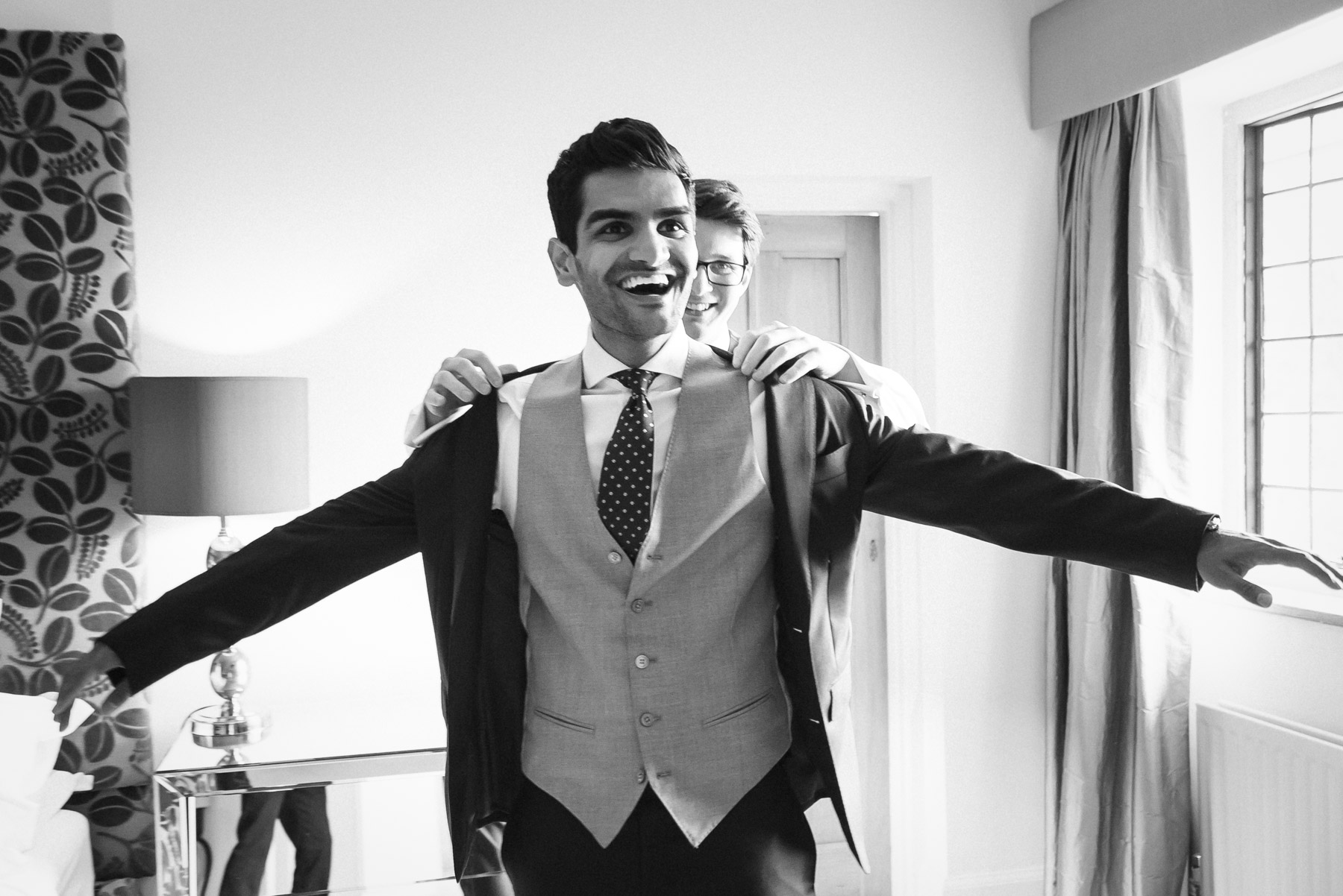Anish gets suited and booted before his wedding in Guildford