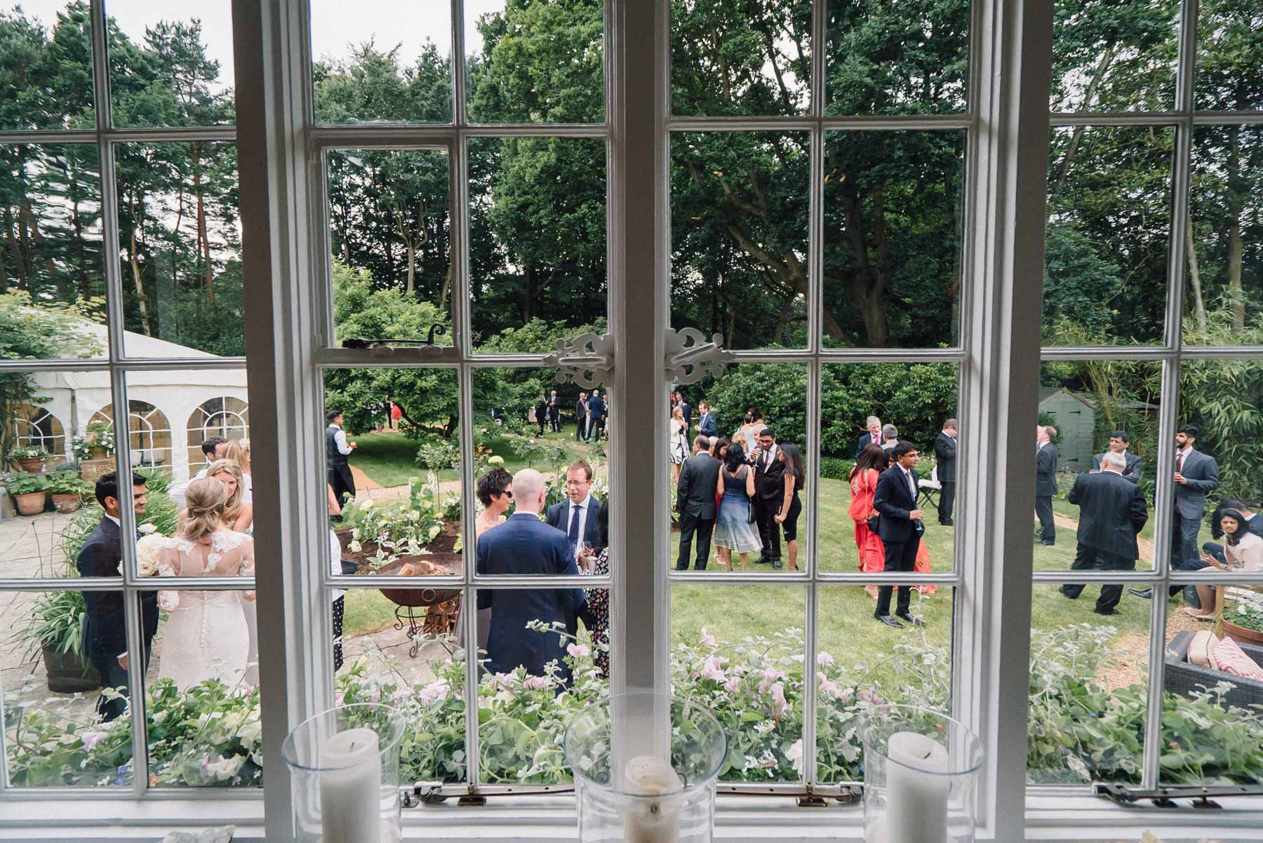 the wedding reception at home in Woking
