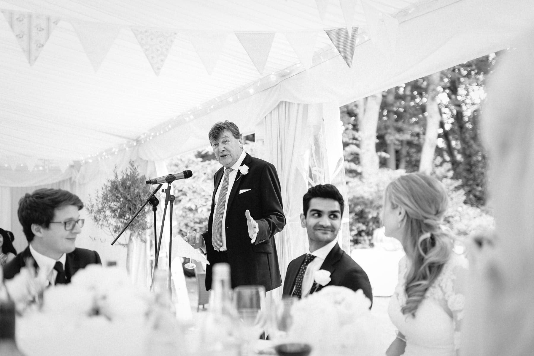 speeches in the wedding marquee surrey